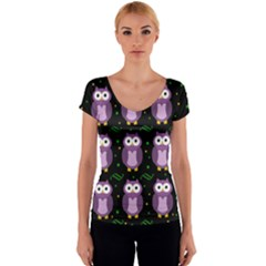 Halloween purple owls pattern Women s V-Neck Cap Sleeve Top