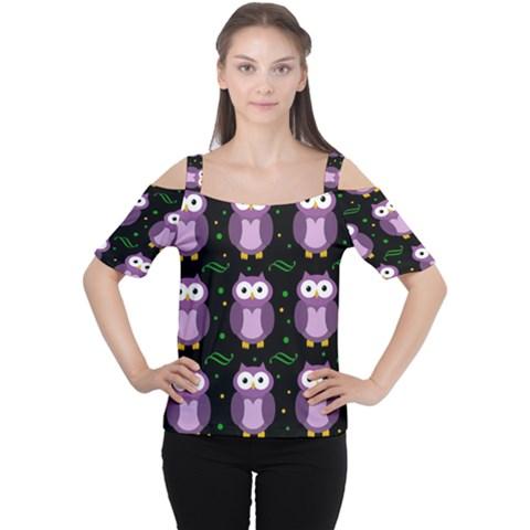 Halloween purple owls pattern Women s Cutout Shoulder Tee