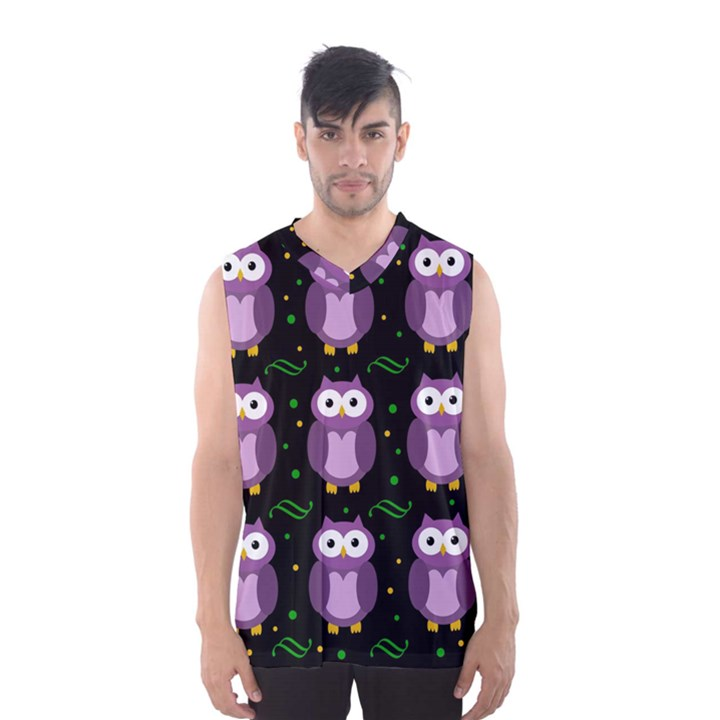 Halloween purple owls pattern Men s Basketball Tank Top