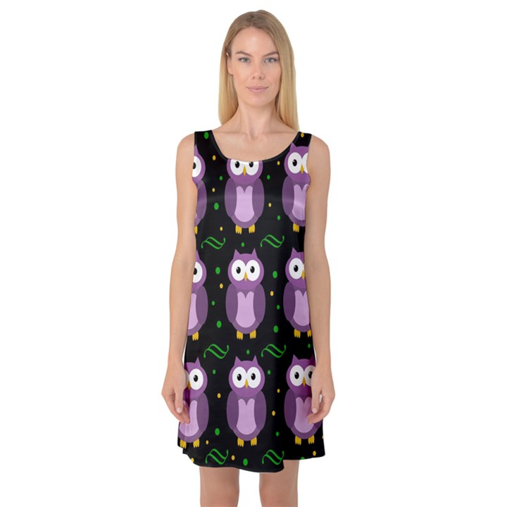 Halloween purple owls pattern Sleeveless Satin Nightdress
