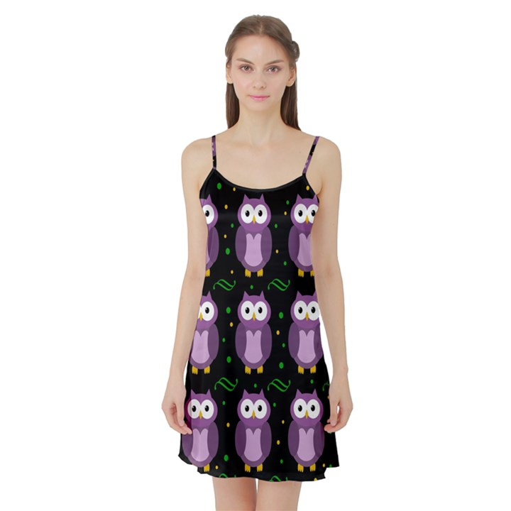 Halloween purple owls pattern Satin Night Slip