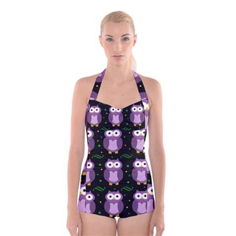 Halloween purple owls pattern Boyleg Halter Swimsuit
