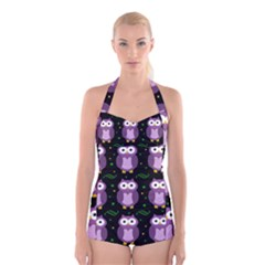 Halloween purple owls pattern Boyleg Halter Swimsuit
