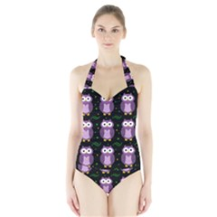 Halloween purple owls pattern Halter Swimsuit
