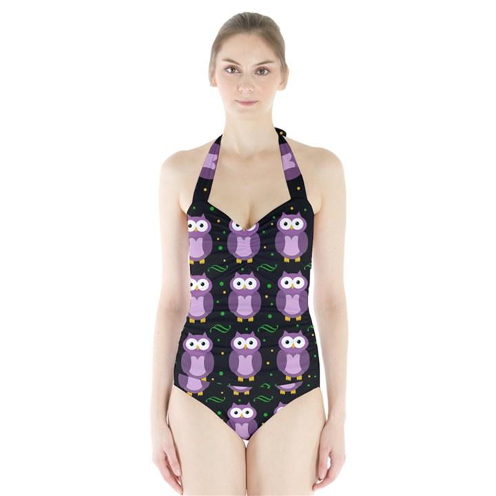 Halloween purple owls pattern Halter Swimsuit