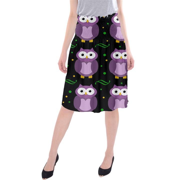 Halloween purple owls pattern Midi Beach Skirt