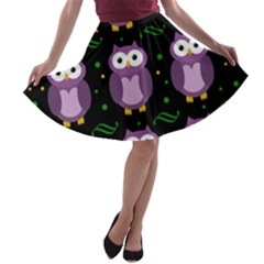 Halloween purple owls pattern A-line Skater Skirt