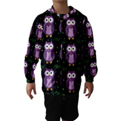 Halloween purple owls pattern Hooded Wind Breaker (Kids)