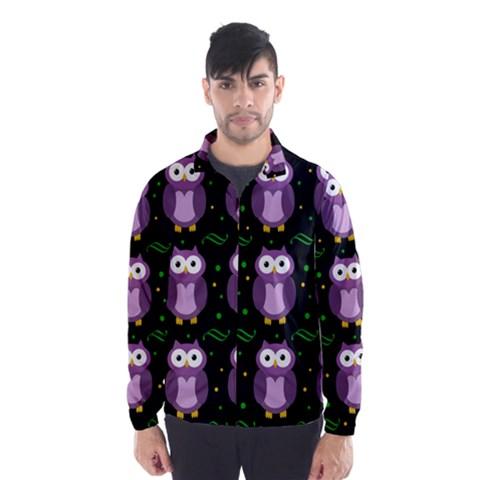 Halloween purple owls pattern Wind Breaker (Men)