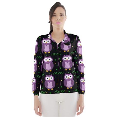 Halloween purple owls pattern Wind Breaker (Women)