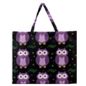 Halloween purple owls pattern Zipper Large Tote Bag View1
