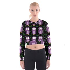 Halloween purple owls pattern Women s Cropped Sweatshirt