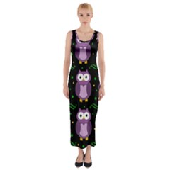 Halloween purple owls pattern Fitted Maxi Dress