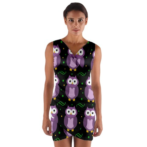 Halloween purple owls pattern Wrap Front Bodycon Dress