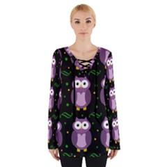 Halloween Purple Owls Pattern Women s Tie Up Tee