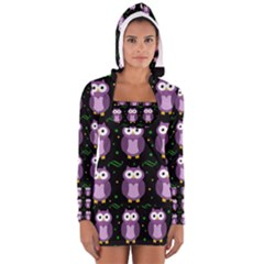 Halloween Purple Owls Pattern Women s Long Sleeve Hooded T Shirt
