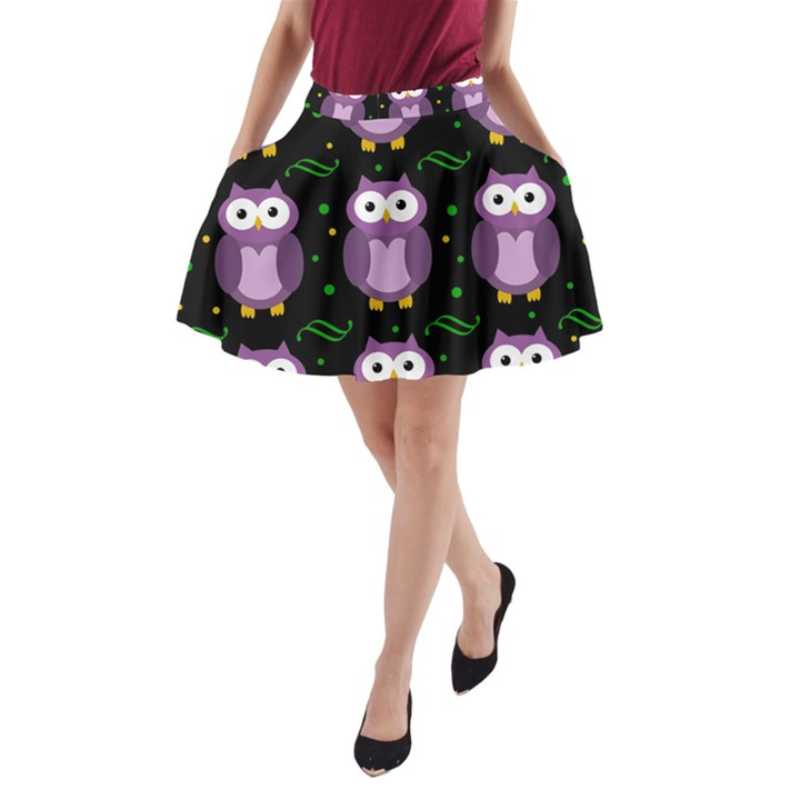 Halloween purple owls pattern A-Line Pocket Skirt