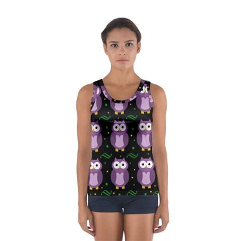 Halloween purple owls pattern Women s Sport Tank Top