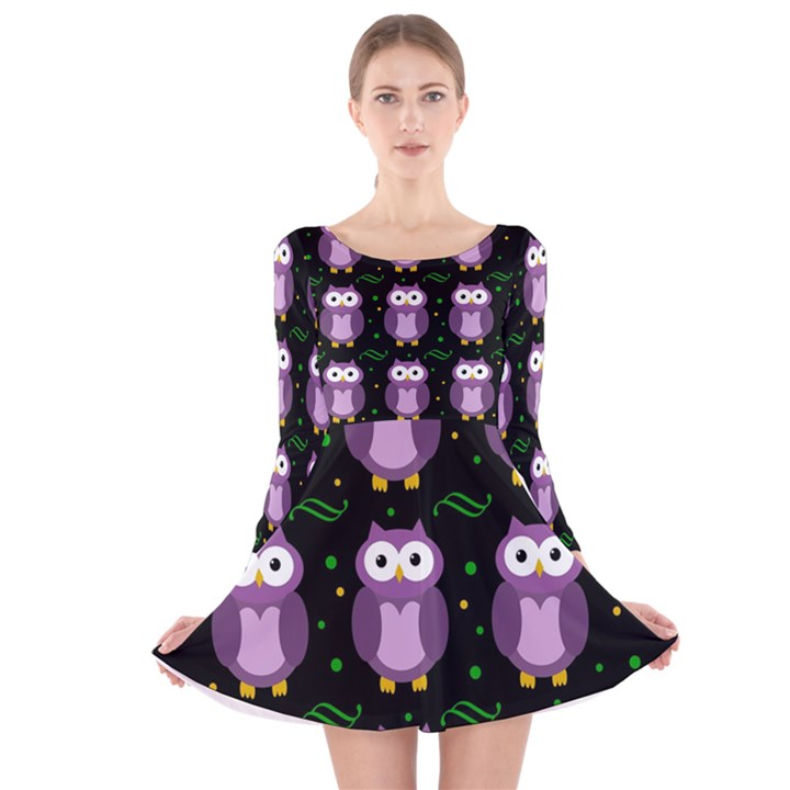 Halloween purple owls pattern Long Sleeve Velvet Skater Dress
