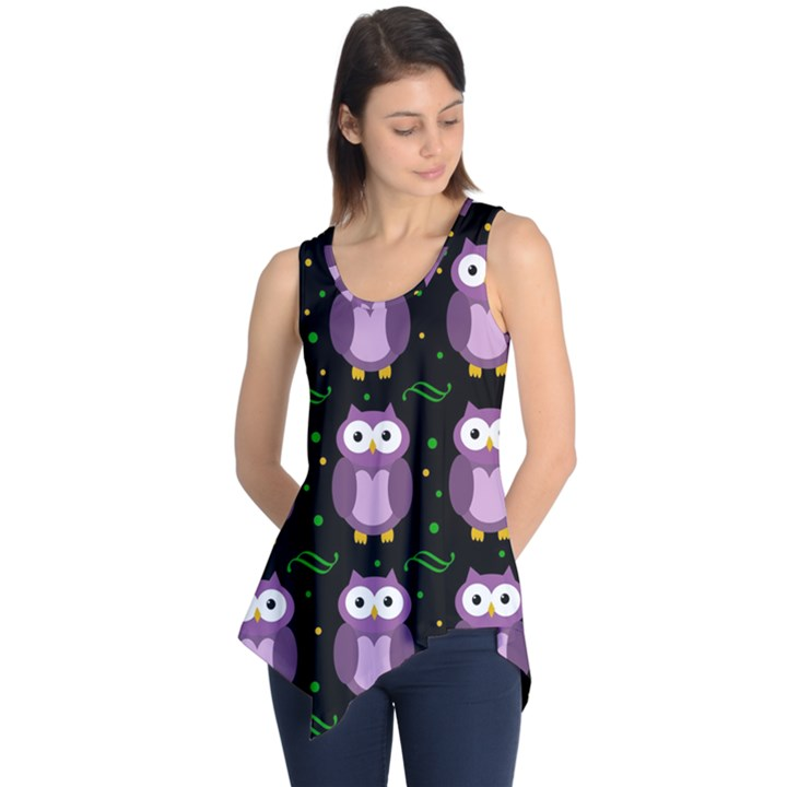Halloween purple owls pattern Sleeveless Tunic