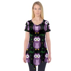 Halloween purple owls pattern Short Sleeve Tunic