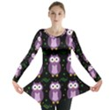 Halloween purple owls pattern Long Sleeve Tunic  View1