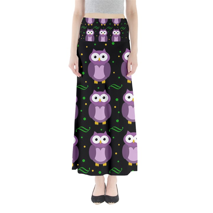 Halloween purple owls pattern Maxi Skirts