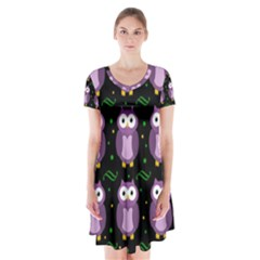 Halloween purple owls pattern Short Sleeve V-neck Flare Dress