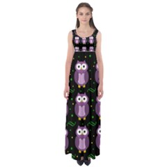 Halloween purple owls pattern Empire Waist Maxi Dress