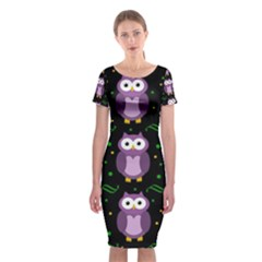 Halloween Purple Owls Pattern Classic Short Sleeve Midi Dress