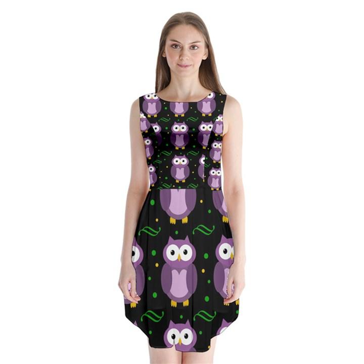 Halloween purple owls pattern Sleeveless Chiffon Dress