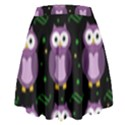 Halloween purple owls pattern High Waist Skirt View2