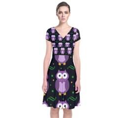 Halloween purple owls pattern Short Sleeve Front Wrap Dress