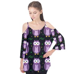 Halloween Purple Owls Pattern Flutter Tees