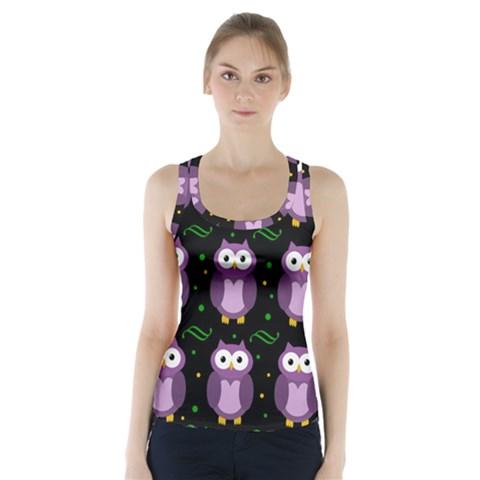 Halloween purple owls pattern Racer Back Sports Top