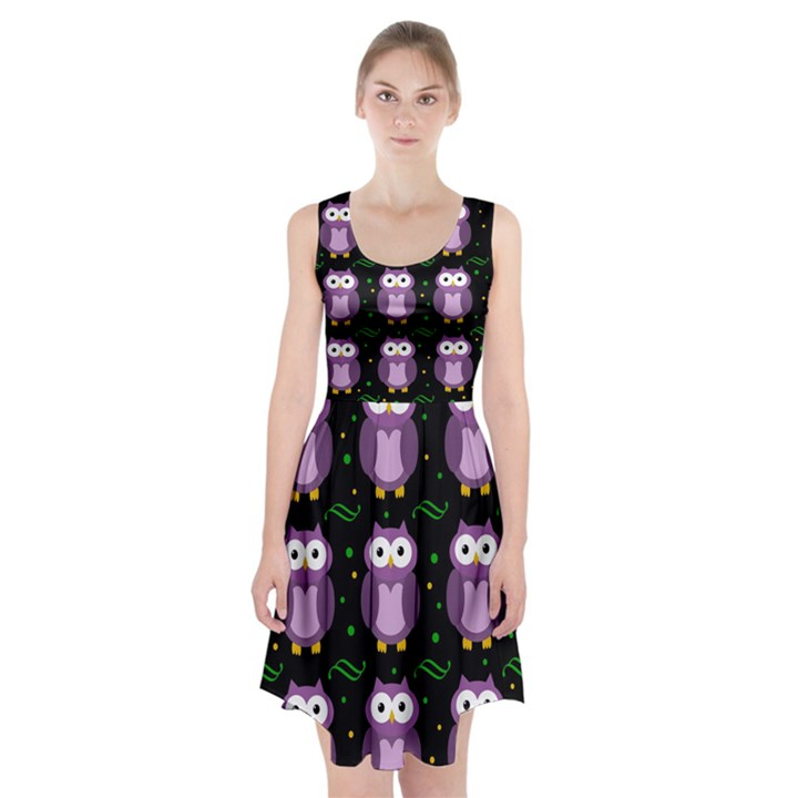Halloween purple owls pattern Racerback Midi Dress