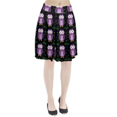 Halloween Purple Owls Pattern Pleated Skirt