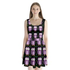 Halloween purple owls pattern Split Back Mini Dress