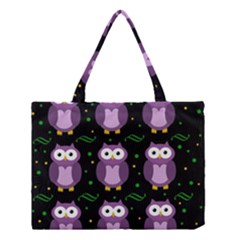 Halloween Purple Owls Pattern Medium Tote Bag