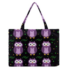 Halloween purple owls pattern Medium Zipper Tote Bag