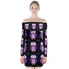 Halloween Purple Owls Pattern Long Sleeve Off Shoulder Dress