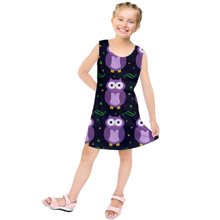 Halloween purple owls pattern Kids  Tunic Dress