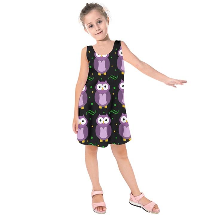 Halloween purple owls pattern Kids  Sleeveless Dress