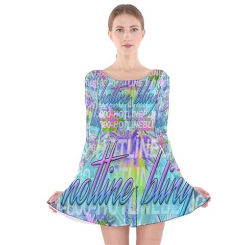 Drake 1 800 Hotline Bling Long Sleeve Velvet Skater Dress