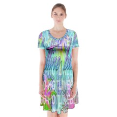 Drake 1 800 Hotline Bling Short Sleeve V Neck Flare Dress
