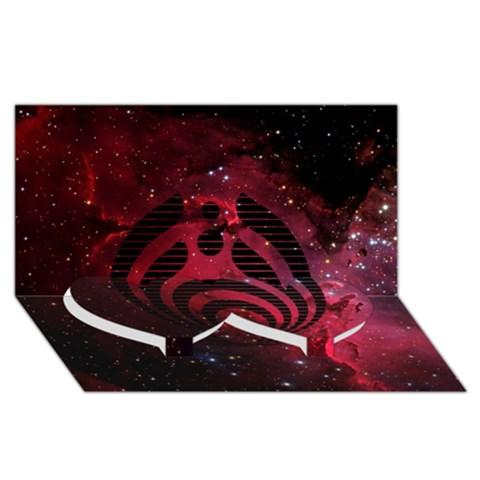 Bassnectar Galaxy Nebula Twin Heart Bottom 3D Greeting Card (8x4)