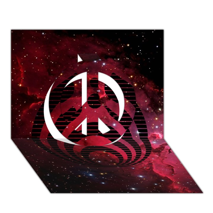 Bassnectar Galaxy Nebula Peace Sign 3D Greeting Card (7x5)