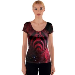Bassnectar Galaxy Nebula Women s V-Neck Cap Sleeve Top