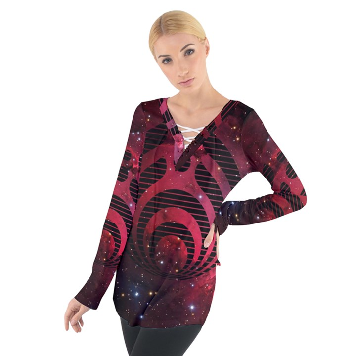 Bassnectar Galaxy Nebula Women s Tie Up Tee