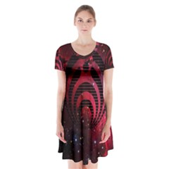 Bassnectar Galaxy Nebula Short Sleeve V-neck Flare Dress